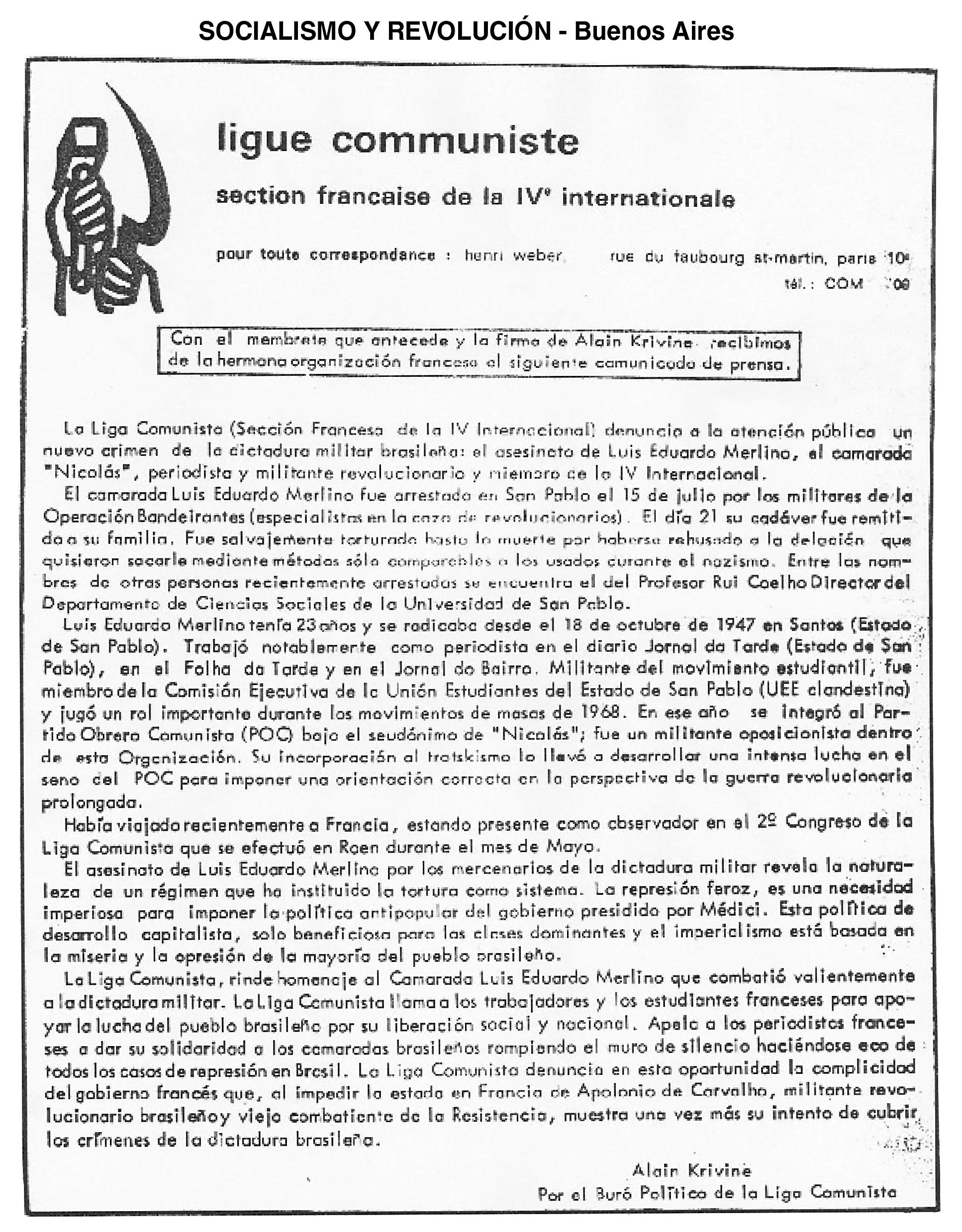 Nota Liga Comunista