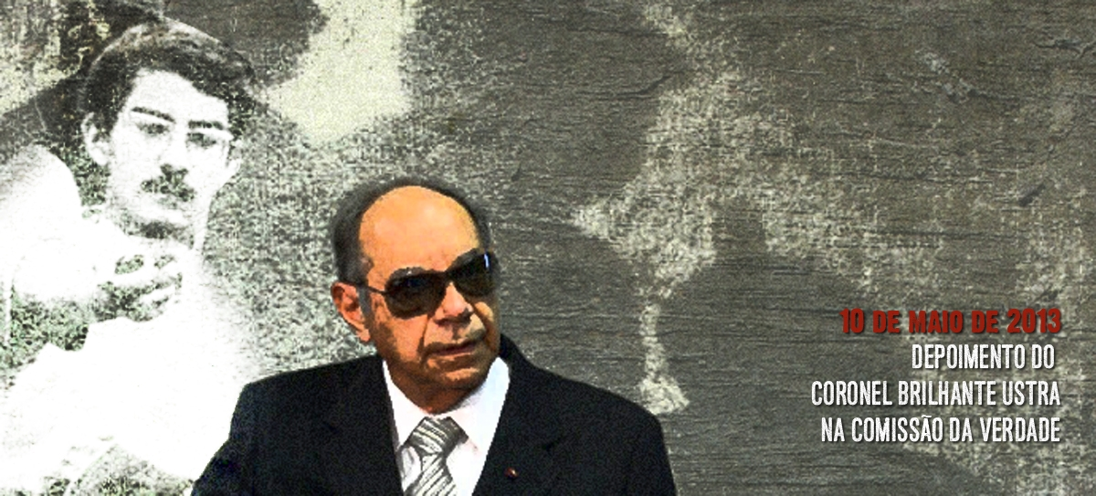 Coronel Carlos Alberto Ustra durante o depoimento na Comissão Nacional da Verdade. Foto ilustração (montagem sobre imagem de divulgação da Comissão Nacional da Verdade e imagem de arquivo (Merlino).